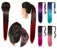 Ombre Color Clip In Wrap Around Pony tail Hair Extensions Ponytail Natural E3