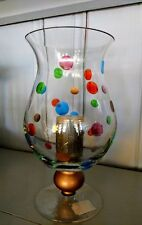 Footed Vase or Candleholder made of Glass with Hand Painted Polka Dots