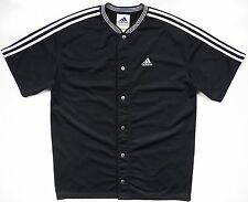 ADIDAS MENS MEDIUM JERSEY SHIRT RARE CLASSIC BLACK WHITE STRIPE LOGO METALBUTTON