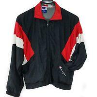 Retro 90s CHAMPION Authentic Mens L Full Zip Color Block Logo Windbreaker Jacket