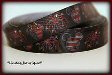 "1Yd 7/8"" 4Th Of July Mickey Minnie Mouse Flag Hairbow Printed Grosgrain Ribbon"