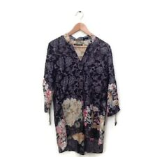 Citron Santa Monica Top S Blouse Black Multi Color Floral Velvet Burn Out Tunic
