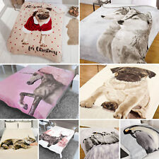 Dreamscene Animal Print Faux Fur Large Christmas Mink Throw Warm Fleece Blanket