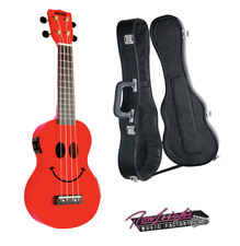 Mahalo Smiley Face Electric Soprano Ukulele with with Hardcase in Red