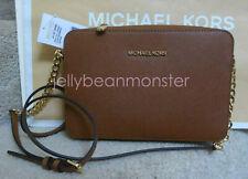 MICHAEL KORS Jet Set Leather Large EW Crossbody Messenger Bag Luggage Brown NEW