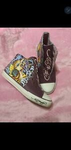 ED HARDY Womens Size 7 Genuine Leather High Top Purple Sneakers