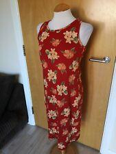 Ladies Vintage Dress Size S 10 Petite LAURA ASHLEY Orange Stretch Jersey Casual