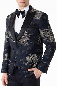 Jack Martin - Handmade Navy & Gold Jacquard Slim Fit 3 Piece Dinner & Party Suit