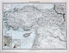 1907 Turkey Map Constantinople Railroads Steamship Routes Russia  ORIGINAL