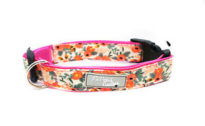 Peach Rose Floral Handmade Puppy Dog Collar OR Lead -Choice of sizes