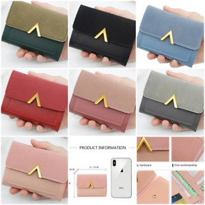 Women Short Small Money Purse Ladies Leather Folding Coin Card Holder Wallet-