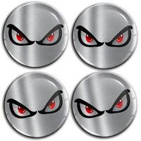 55mm 3D Silicone Stickers Hub Rims Wheel Center Caps No Fear Eyes Silver Emblem