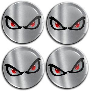 60mm 3D Silicone Stickers Hub Rims Wheel Center Caps No Fear Eyes Silver Emblem