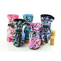 Pet Dog Puppy Leopard Rubber Sole Waterproof Boots Protective Rain Shoes Booties