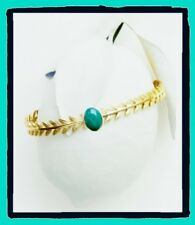 Bracelet Bangle Open Stone Real Aventurine Green Gold plated 18K