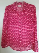 Hollister Top Button Down Shirt Sheer 3/4 Sleeve Pink White Polyester Sz S