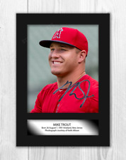 More details for mike trout (1) los angeles angels a4 signed mounted poster. choice of frame.