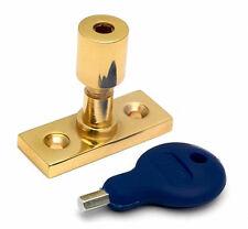 Heavy Duty Window Stay / latch Security Pin in Polished Brass with Key (PB880)