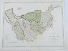 Hand Colored Engraving Map of Cheshire England c. 1805 by John Cary