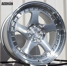 AODHAN AH01 17x9 5x100 / 5x114.3 +35 Silver Machined Face and Lip (PAIR) wheels