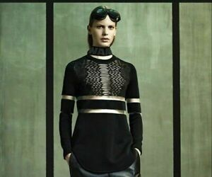 NEW Limited Edition Alexander Wang X H&M Perforated Black Tunic/Blouse
