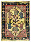 Vintage Tribal Oriental Qashqai Rug, 4'x5', Ivory/Blue, Hand-Knotted Wool Pile