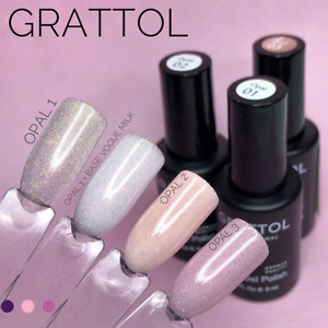 GRATTOL LUXURY STONES OPAL Gel Nail Polish Glitter Color Coat 9ml