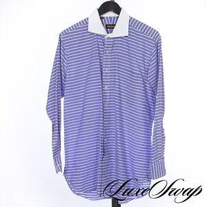 Paul Stuart Made Canada Lavender White Horizontal Stripe Contrast Clr Shirt 16