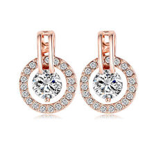 18K Rose Gold Plated Halo Stud Earring with Swarovski Crystal Valentine Jewelry