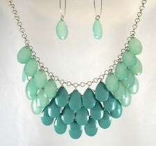 New Layered Necklace Earring Set with Seafoam Aqua Teardrop Beads #N2328