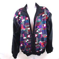 Vtg 90s Sunterra Women's Jacket Size M Black Multi Color Geometric Windbreaker