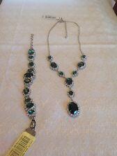 Austrian Emerald Crystal Teardrop Necklace and Bracelet NWT Nickel Free