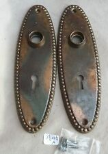 """Door Knob Back Plates BEADED OVAL flashed copper plated 7 3/8""""h 1890s (per pr) A"""