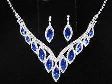 Silver W. Royal Blue Rhinestone Crystal Necklace and Earrings Set