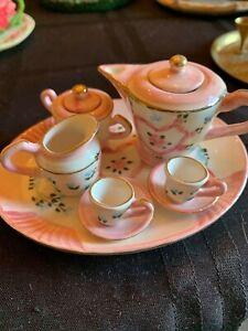 pink floral miniature tea set