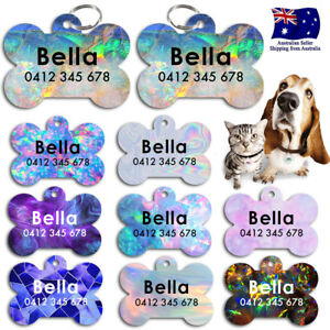 Metal Personalized Pet cat dog Tag Stripes Key ring Name Tags Marble Stone Opal