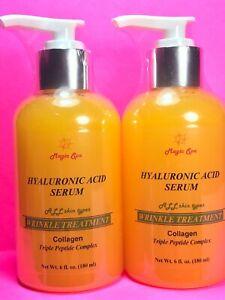 2*6oz HYALURONIC ACID Serum Cream Collagen Wrinkle Filler Peptide Matrixyl 3000