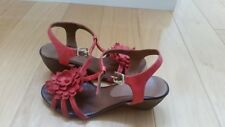 Genuine leather wedge sandals, size 6 (36), red