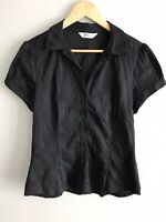 PORTMANS Sz 14 Black Short Sleeve Collared Fitted Shirt Buttons Corporate Office