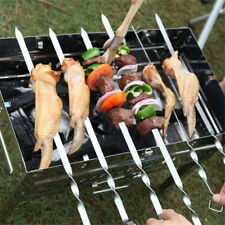 10Pcs Bbq Barbecue Stainless Steel Grilling Kabob Kebab Flat Skewers Needle 38Cm