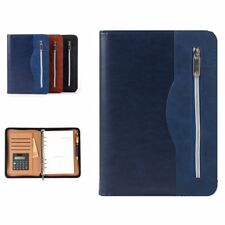 SAYEEC Ringbinder Folio with Zipper A5 Lined Paper Zip Around PU Leather Loose