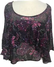 Charlotte Russe Oversize Blouse Crop Top Small Boho Ruffles Purple Hippy Sheer