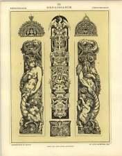 1880: RINASCIMENTALE fiamminga LESENA Figure di pietra intaglio