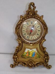 Vintage Mod Dep Mantel Clock Italy Gold Rococo Baroque Italian Works