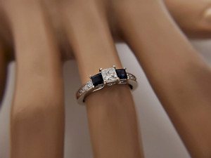 14k White Gold Princess Diamond Blue Sapphire Ring 1.00 CT