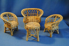 4 pc. Vintage Barbie Midge Lizzie Rattan Wicker Woven furniture chairs loveseat