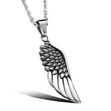 Kette Halskette mit Anhänger Geschenk Edelstahl Herrenschmuck Flügel Engel 50 cm
