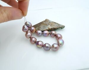 13 GORGEOUS AAA AA+ FRESHWATER EDISON 9.4-11.4mm PURPLE PINK CULTURED PEARLS
