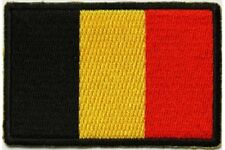 "(C43) BELGIUM FLAG 3"" x 2"" iron on patch (5200) Biker"