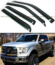 FOR 2015-17 FORD F150 4 DR SUPERCREW CREW CAB SMOKE WINDOW VENT VISOR RAIN GUARD
